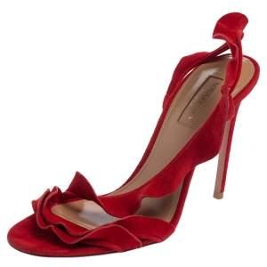 Aquazzura Red Suede Ruffle Sandals Size 37