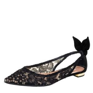 Aquazzura Black Lace Bow Tie Pointed Toe Slingback Flats Size 38
