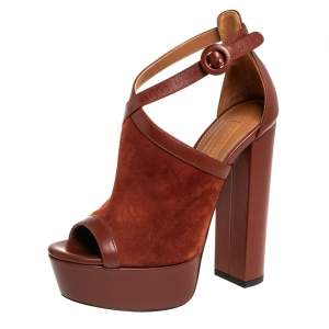 Aquazzura Brown Suede And Leather Issa Platform Ankle Strap Sandals Size 35.5