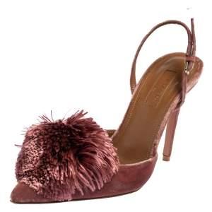 Aquazzura Pink Velvet Powder Puff Pointed Toe Slingback Sandals Size 37