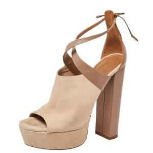 Aquazzura Beige/Brown Suede And Leather Kaya Platform Sandals Size 38