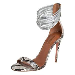 Aquazzura Beige/Brown Python Embossed Leather Spin Me Around Strappy Sandals Size 36