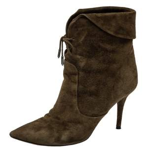 Aquazzura Brown Olive Green Suede Tribeca Ankle Boots Size 39