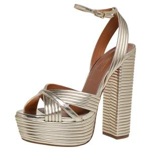Aquazzura Gold Leather Platform Sundance Ankle Buckle Sandals Size 35.5