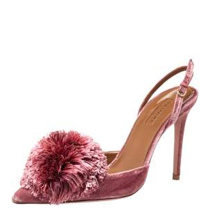Aquazzura Pink Velvet Powder Puff Pointed Toe Slingback Sandals Size 39