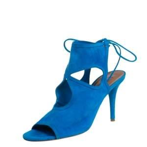 Aquazurra Blue Suede Sexy Thing Peep Toe Sandals Size 39