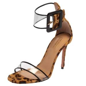 Aquazzura Brown/White Leopard Print Fur And PVC Ankle Strap Sandals Size 38