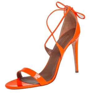 Aquazzura Neon Orange Patent Leather Linda Ankle Wrap Sandals size 41