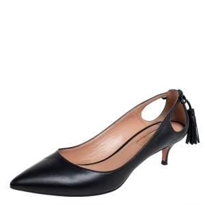Aquazzura Black Leather Forever Marilyn Fringe Bow Kitten Heel Pumps Size 37.5