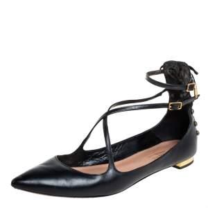 Aquazzura Black Leather Ankle Strap Ballet Flats Size 37.5
