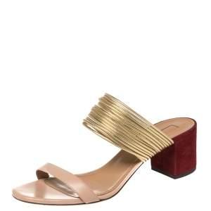 Aquazzura Tricolor Leather and Suede Rendez Vous Block Heel Slide Sandals Size 39