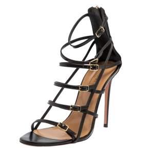 Aquazzura Black Leather Super Model Black Cage Sandals Size 40