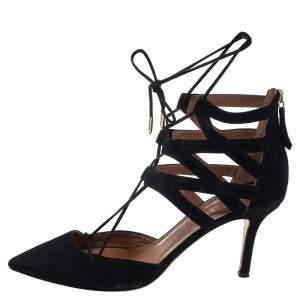 Aquazzura Black  Black Suede Belgravia Lace Up Pointed Toe Pumps Size 37.5