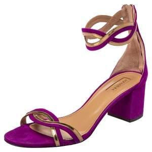 Aquazzura Purple Suede Moon Ray Block Heel Ankle Strap Sandals Size 40