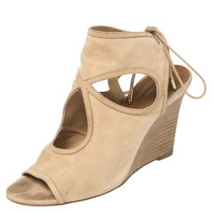 Aquazzura Beige Suede Cutout Sexy Thing Ankle Wrap Sandals Size 37