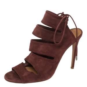 Aquazurra Maroon Suede Sloane Cutout Peep Toe Sandals Size 39