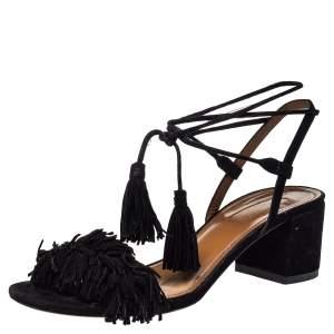Aquazzura Black Suede Wild Thing Fringe Ankle Wrap Sandals Size 36