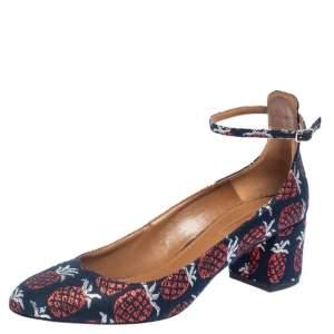 Aquazzura Blue Fabric Logo Embroidered Alix Ankle Strap Block Heel Pumps Size 39