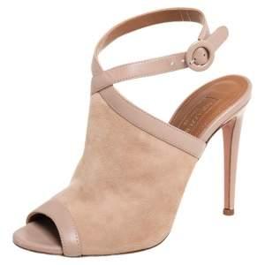 Aquazzura Beige Suede And Leather Trim Eddie Ankle Strap Sandals Size 35.5