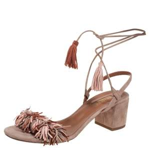 Aquazzura Multicolor Suede Wild Thing Fringe Ankle Wrap Sandals Size 37