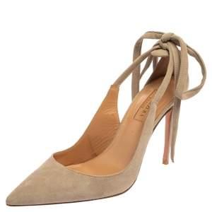 Aquazzura Grey Suede Bow Tie Sandals Size 37.5