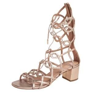 Aquazzura Metallic Gold Leather Mumbai Gladiator Ankle Wrap Sandals Size 37.5