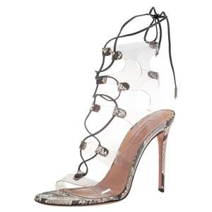 Aquazzura Brown Python Embossed Leather and PVC Lace Up Sandals Size 37.5
