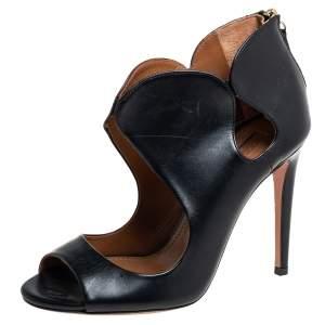 Aquazzura Black Leather Zipper Detail Sandals Size 35