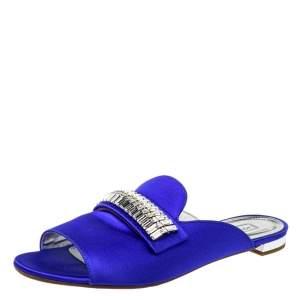 Aquazzura Blue Satin Embellished Flat Sandals Size 39.5