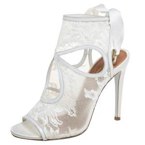 Aquazzura White Lace and Leather Sexy Thing Bridal Cut Out  Ankle Wrap Sandals Size 35