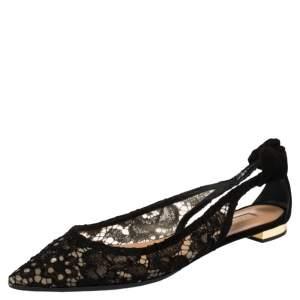 Aquazzura Black Lace and Suede Bow Tie Slingback  Flats Size 38