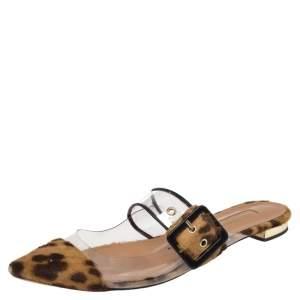 Aquazzura Brown Leopard Print Calf Hair And PVC Seduction Mules Size 38