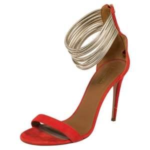 Aquazzura Orange Suede Spin Me Around Ankle Cuff Sandals Size 40