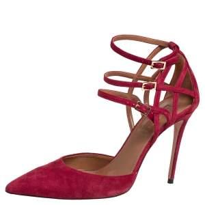 Aquazzura Burgundy Suede Strappy Ankle Strap Sandals Size 37.5