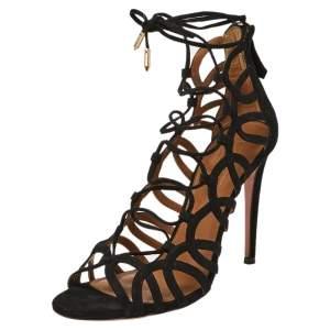 Aquazzura Black Suede Ooh Lala Cage Sandals Size 37.5