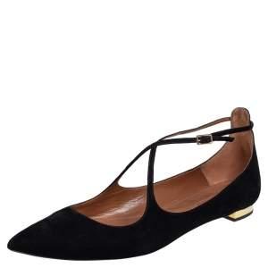 Aquazzura Black Suede Ballet Flats Size 39.5
