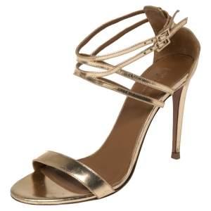 Aquazzura Gold Leather Lucille Open Toe Ankle Strap Sandals Size 39