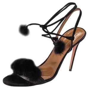Aquazzura Black Fur And Suede Wild Russian Open Toe Ankle Wrap Sandals Size 39