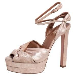 Aquazzura Metallic Beige Suede Ankle Strap Platform Sandals Size 38