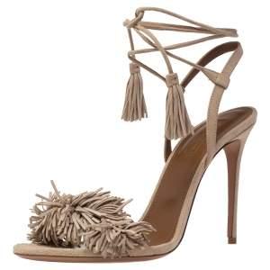 Aquazzura Beige Suede Leather Wild Thing Fringe Ankle Wrap Sandals Size 39.5