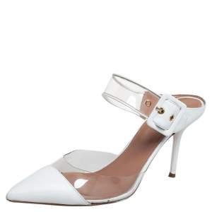 Aquazzura White PVC And Leather Optic 85 Buckle Sandals Size 39.5