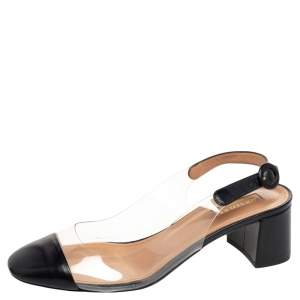 Aquazzura Black Leather and PVC Ankle Strap Sandals Size 38