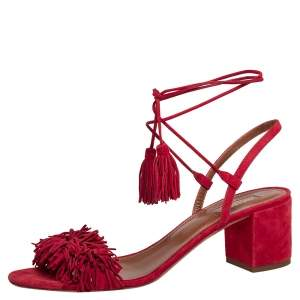 Aquazzura Red Suede Wild Thing Fringe Ankle Wrap Sandals Size 40