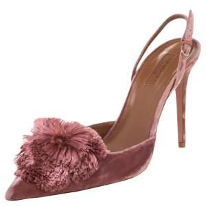 Aquazzura Pink Velvet Powder Puff Pointed Toe Slingback Sandals Size 41