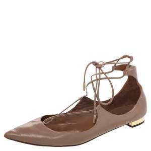 Aquazzura Beige Leather Christy Flat Sandals Size 41