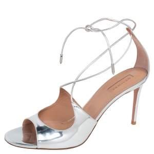 Aquazzura Silver Leather Sofia Open Toe Ankle Tie Sandals Size 40.5