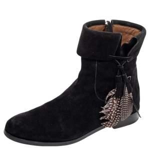 Aquazzura Black Suede Feather Coachella Ankle Length Boots Size 40.5