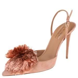 Aquazzura Beige Suede Powder Puff  Pointed Toe Slingback Sandals Size 39.5