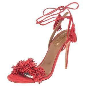 Aquazzura Red Suede Wild Things Ankle Wrap Sandals Size 38