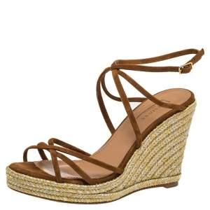Aquazzura Brown Suede Gin Espadrille Wedge Sandals Size 37
